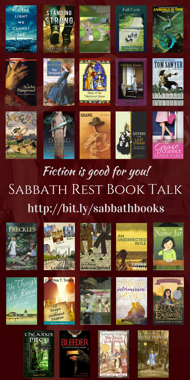 Fiction is Good for you! Watch Sabbath Rest Book Talk, and never feel guilty for reading fiction again!